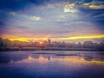 Overfiltered fantasy dramatic artistic story scene in danube delta from romania Stock Photo