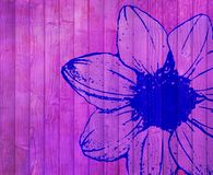 Overfiltered floral concept painted on the wooden wall Royalty Free Stock Photo