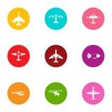 Overflight icons set, flat style. Overflight icons set. Flat set of 9 overflight vector icons for web isolated on white background Stock Image