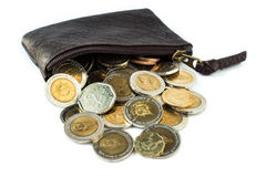 Overflow of coins. The coins overflow of wallet Royalty Free Stock Images