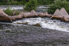 Overflow dam. Beach perelevnoy dam on the river Big Irgiz stock images