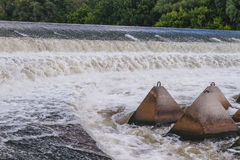 Overflow dam. Beach perelevnoy dam on the river Big Irgiz royalty free stock photos