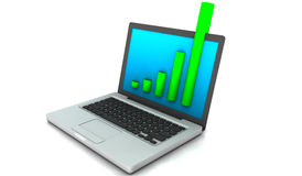 Overflow del computer portatile (isolato su bianco) Immagine Stock Libera da Diritti