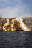 Overflow from Excelsior Geyser runs into the Yellowstone River Royalty Free Stock Photos