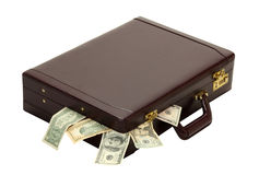 Overflow of Expenses of Profit. A briefcase overflows with expenses, wages, taxes or profits isolated on white royalty free stock images