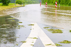 Overflowed street. In springtime, Neckar, Germany Royalty Free Stock Image
