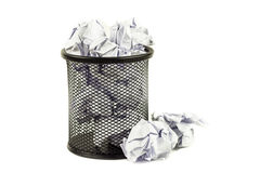 Overflowed wastepaper basket Royalty Free Stock Photography
