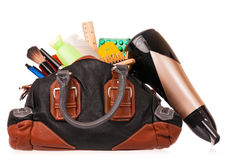Overflowed woman handbag Royalty Free Stock Photos