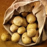 Overflowing Bag Of Potatos Royalty Free Stock Images