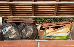 Overflowing bins, incivility Stock Image