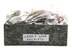 Overflowing Credit Card Receipts Royalty Free Stock Photo