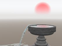 Overflowing Fountain with Rising Sun. An Overflowing Fountain with an eastern Rising Sun Royalty Free Stock Photos