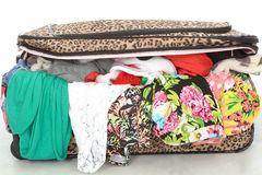 Overflowing Full Suitcase Unable to Close Royalty Free Stock Photography