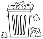 Overflowing with garbage. Outline of garbage can overflowing with trash - vector Stock Photos