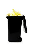 Overflowing garbage bin Royalty Free Stock Images