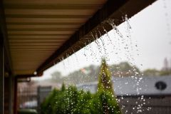 Overflowing house gutters in winter in adelaide south australia. On 19th July 2018 royalty free stock photo