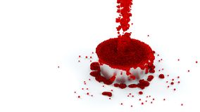 Overflowing Metallic Cup of Red and Sticky Fluid with many micro Royalty Free Stock Photo