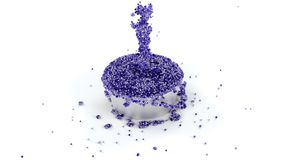 Overflowing Metallic Cup of Shiny Purple and Slimy Fluid with ma. Ny micro balls which continue flowing with a White background stock illustration