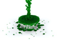 Overflowing Silver Cup of Green and Slimy Fluid with many micro Royalty Free Stock Images