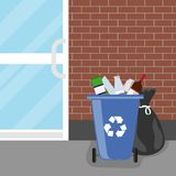 Overflowing trash can. Tank with debris and trash bags. Trash can. Flat design,  illustration Royalty Free Stock Images