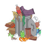 Overflowing trash recycle bin. Waste have been disposed improper. Ly around the dust bin. Garbage can is full of trash. Trash on the ground. Vector Illustration Stock Image