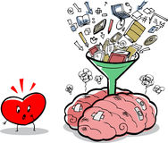 Overfull brain and worried heart Stock Photography