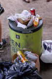 Overfull garbage can in city. Copenhagen August 26, 2017 Royalty Free Stock Photos