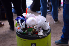 Overfull garbage can in city. Copenhagen August 26, 2017 Stock Image