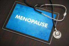 Overgang (menstruele verwante cyclus) medisch concept op tabletsc stock fotografie
