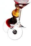 Overgehelde het Glas van de wijn stock foto