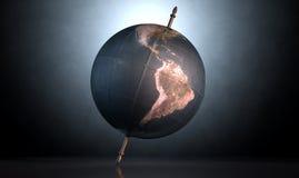 Overgehelde Wereldbol Royalty-vrije Stock Foto
