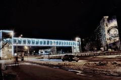 Overground crossing on Gagarin Avenue Royalty Free Stock Photography