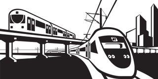 Overground rail transportation Stock Image