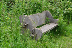 Overgrown bench. A photo of an overgrown wooden bench Stock Photos