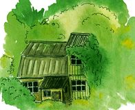 Overgrown garden, abandoned cottage with greenery - watercolor hand-painted illustration. Overgrown garden, abandoned cottage with greenery around it stock illustration
