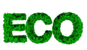 Overgrown with grass letter isolated on white (3d render). 3D render of overgrown with grass letter ECO isolated on white (3d render stock illustration