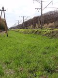 Overgrown with green grass a pedestrian road along the railway Stock Images