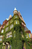 Overgrown historic house. In Hamburg harbour, Germany stock photography