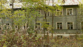 Overgrown house in the forest. Autumn daytime. Smooth dolly shot.  stock video footage