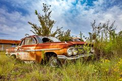 Rusty Salvage Yard Car Royalty Free Stock Images