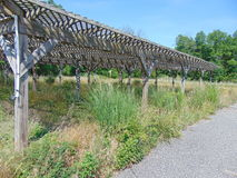 Overgrown Trellis. An abandoned trellis structure overgrown with plants and weeds stock image