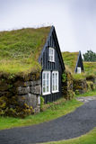Overgrown Typical Rural Icelandic house at overcast day Royalty Free Stock Photos