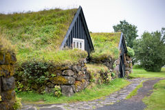 Overgrown Typical Rural Icelandic house at overcast day Stock Images