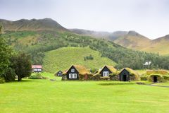 Overgrown Typical Rural Icelandic houses at overcast day Stock Images
