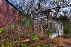 Overgrown Wood Framed Abandoned Gas Station Anderson Texas Royalty Free Stock Images