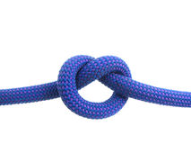Overhand knot in climbing rope Royalty Free Stock Photo