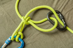 Overhand knot with draw-loop Halter hitch. Royalty Free Stock Image