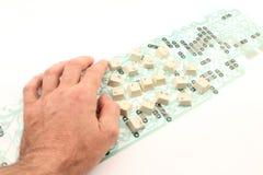 Overhandig een deel van het toetsenbord Royalty-vrije Stock Afbeelding