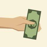Overhandig het geven van geld Stock Afbeeldingen
