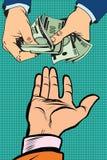 Overhandig het geven van geld stock illustratie